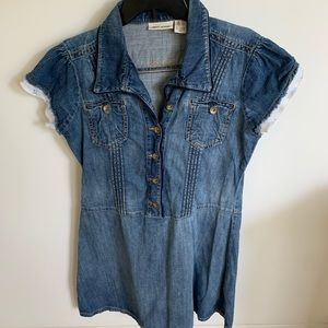 DKNY Jeans Denim Dress size L cap sleeves